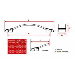Set van 4 lederen handvaten (160 mm, zwart)  - 2