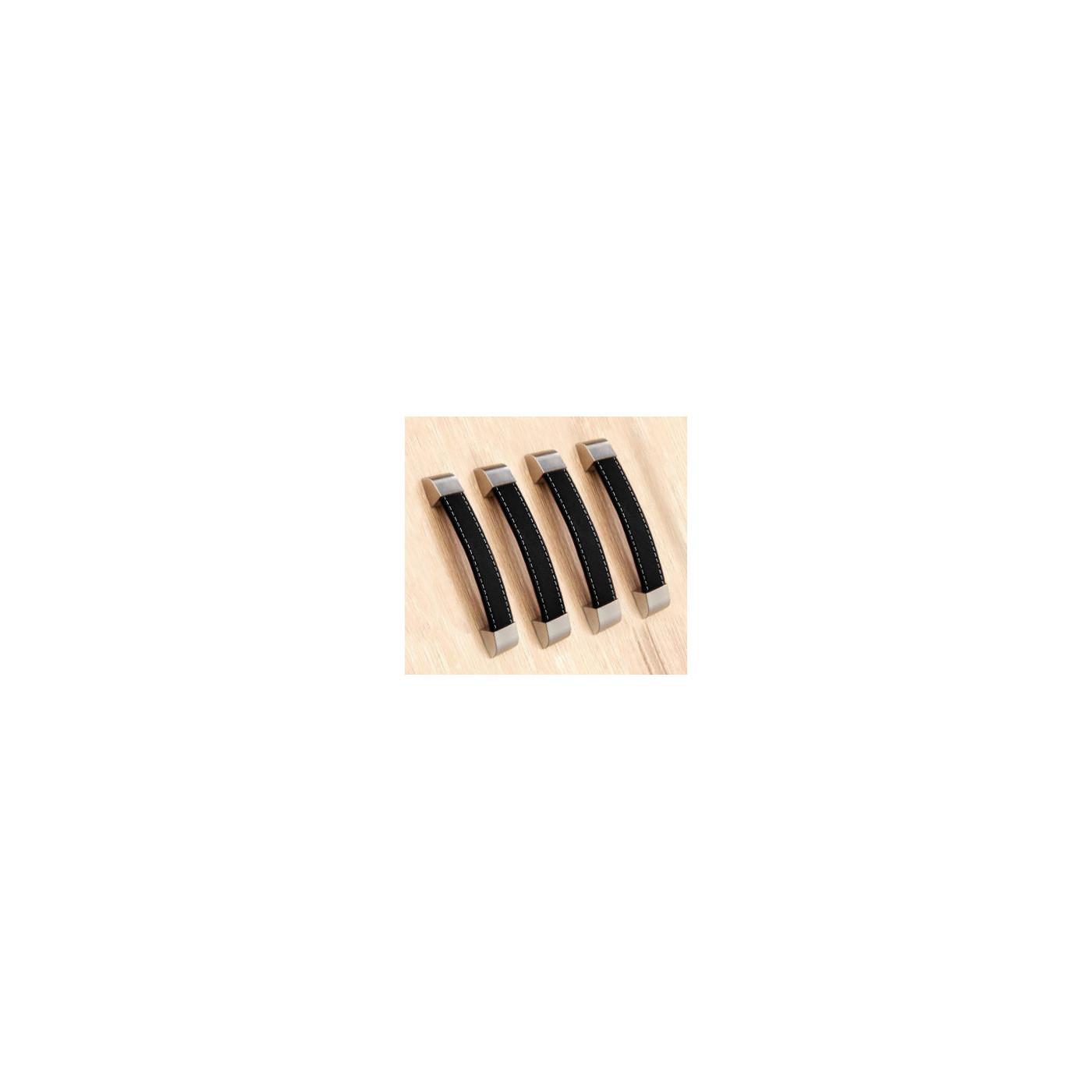 Lot de 4 poignées en cuir (160 mm, noir)