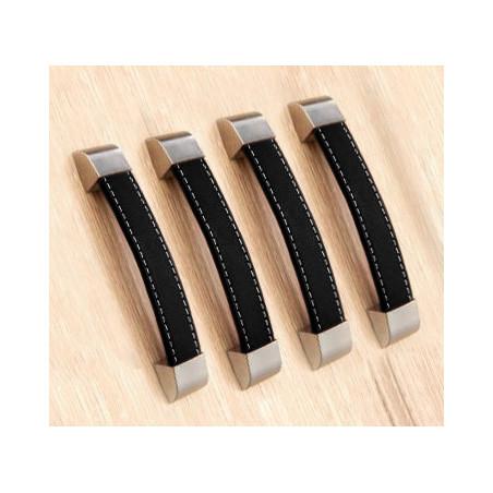 Set van 4 lederen handvaten (160 mm, zwart)  - 1