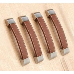 Set of 4 leather handles (160 mm, brown)