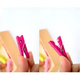 Zestaw 100 kolorowych szpilek na ubrania z drewna (35 mm)  - 3