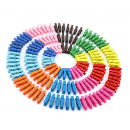Set of 100 colorful clothes pins from wood (35 mm)