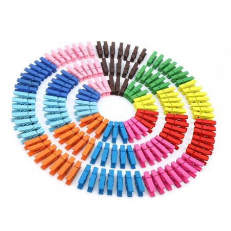 Set van 100 kleine, gekleurde houten wasknijpers (35 mm)