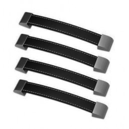 Set of 4 leather handles (192 mm, black)