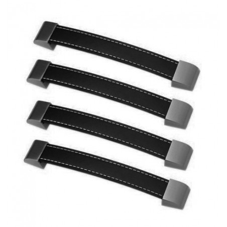 Lot de 4 poignées en cuir (192 mm, noir)  - 1
