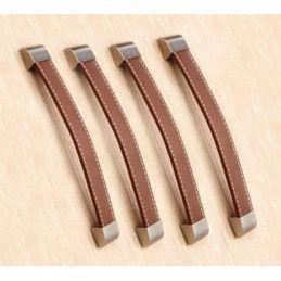 Lot de 4 poignées en cuir (192 mm, marron)  - 1