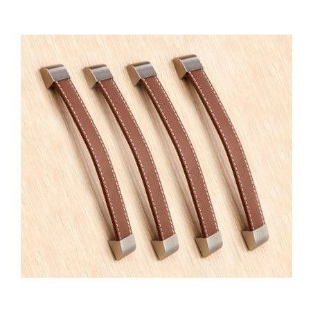 Set van 4 lederen handvaten (192 mm, bruin)