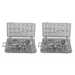 Set of 480 pieces bolts, nuts and washers in box