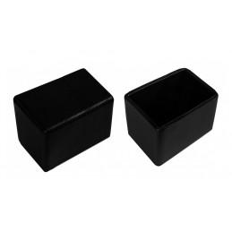 Jeu de 32 couvre-pieds de chaise en silicone (extérieur, rectangle, 25x50 mm, noir) [O-RA-25x50-B]  - 1