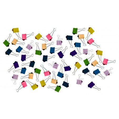 Set of 50 paper clips (19 mm, multi color) in 5 blister packs