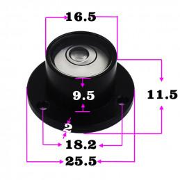 Conjunto de 5 níveis redondos de bolha com casca de metal (preto)  - 2