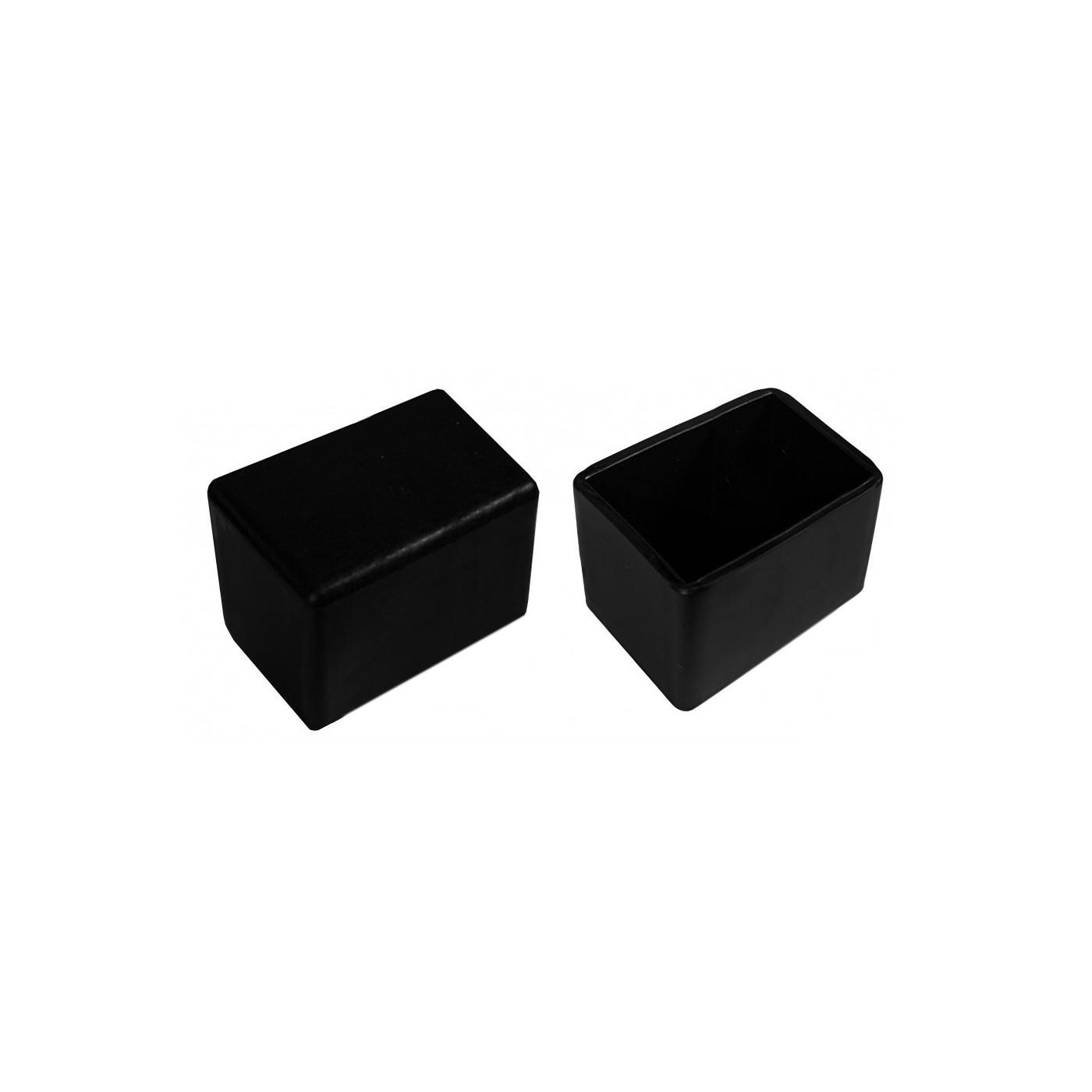 Jeu de 32 couvre-pieds de chaise en silicone (extérieur, rectangle, 20x40 mm, noir) [O-RA-20x40-B]  - 1