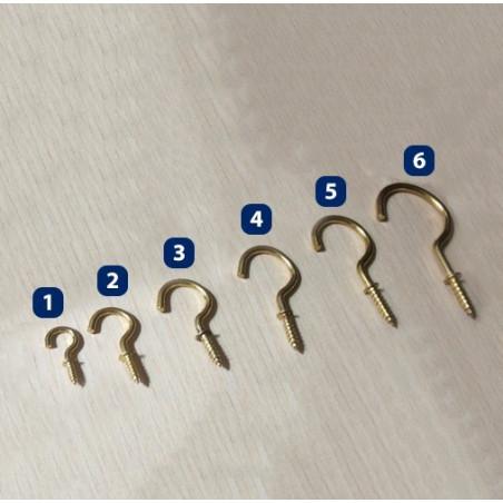 Set of 20 brass screw hooks, size 3