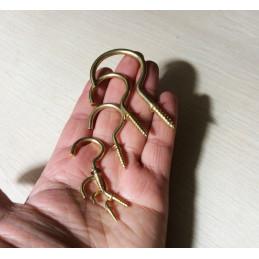 Set of 20 brass screw hooks, size 5