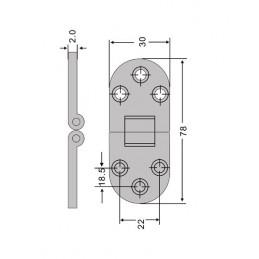 Jeu de 4 charnières métalliques robustes (30x78 mm, 180 degrés, chrome)  - 3