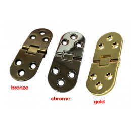 Jeu de 4 charnières métalliques robustes (30x78 mm, 180 degrés, chrome)  - 2