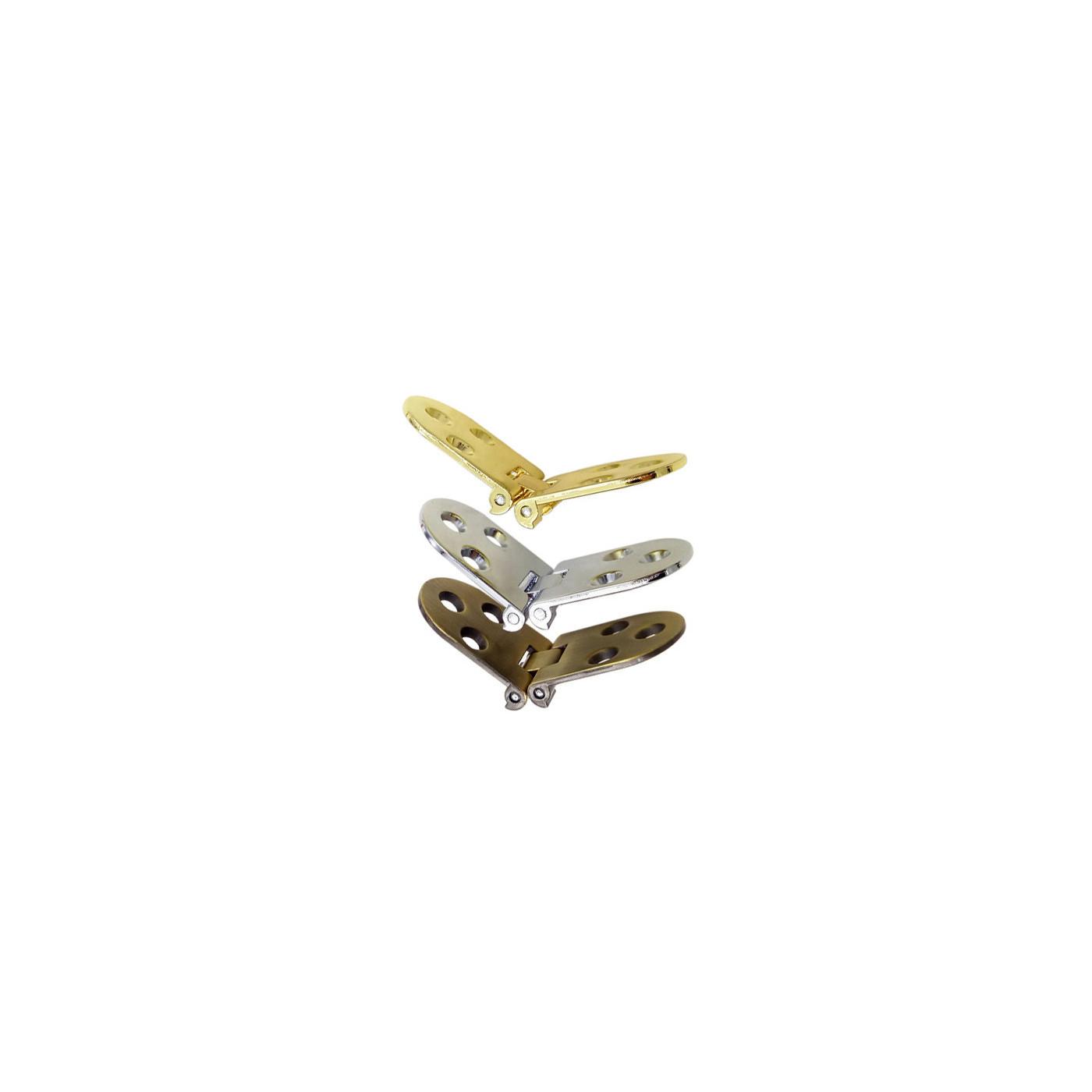 Jeu de 4 charnières métalliques robustes (30x78 mm, 180 degrés, chrome)  - 1