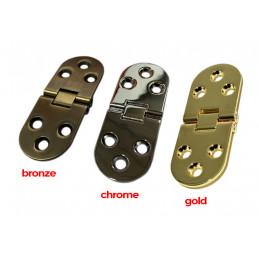 Set of 4 sturdy metal hinges (30x78 mm, 180 degrees, bronze)