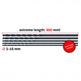 Jeu de 3 forets à métaux, extra long (6,0x350 mm)