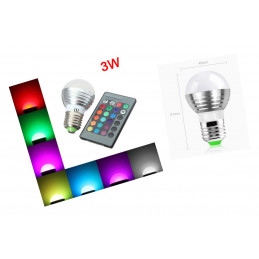 Lampa LED E27 RGB z pilotem, 3 W.  - 1
