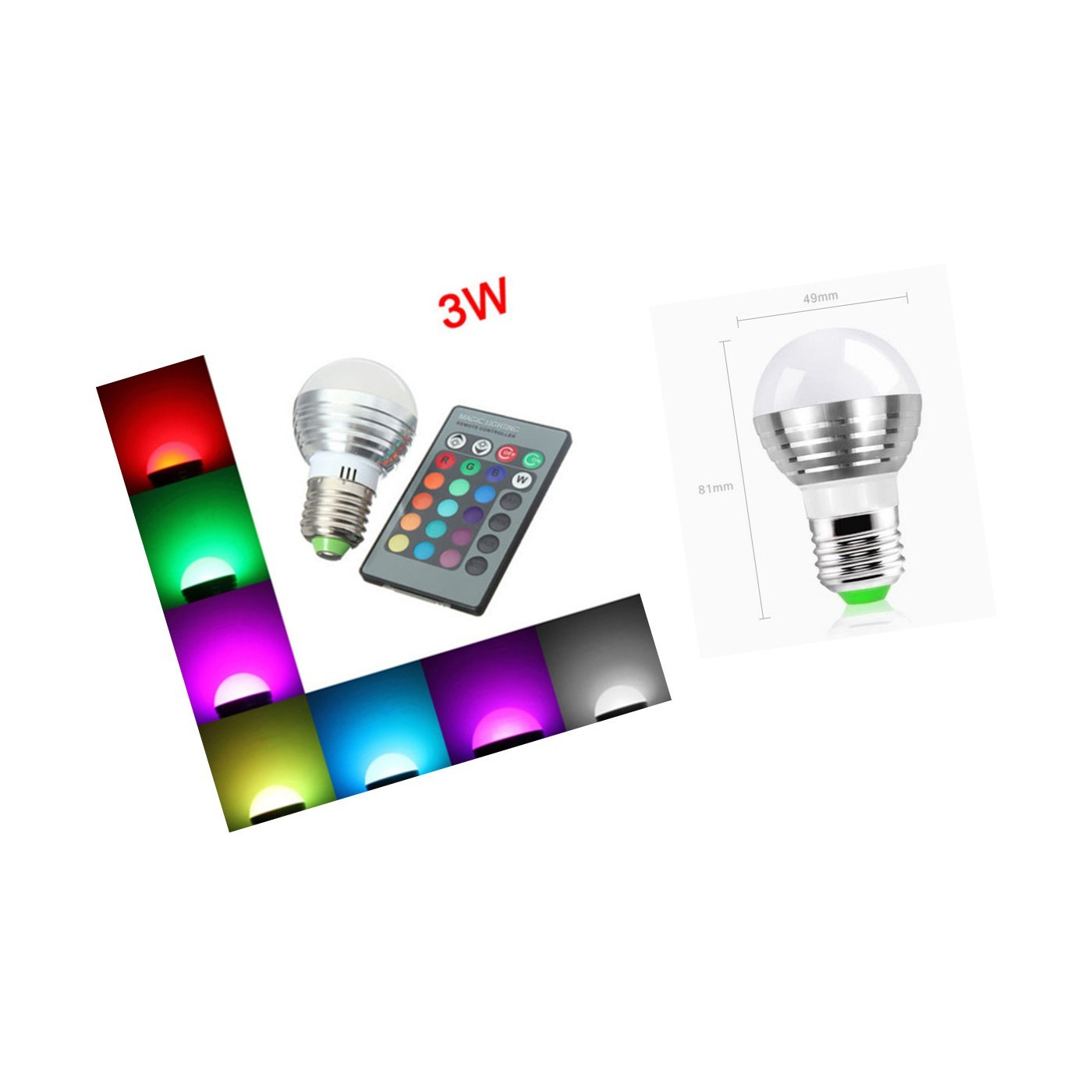 E27 RGB LED Lampe mit Fernbedienung, 3W  - 1
