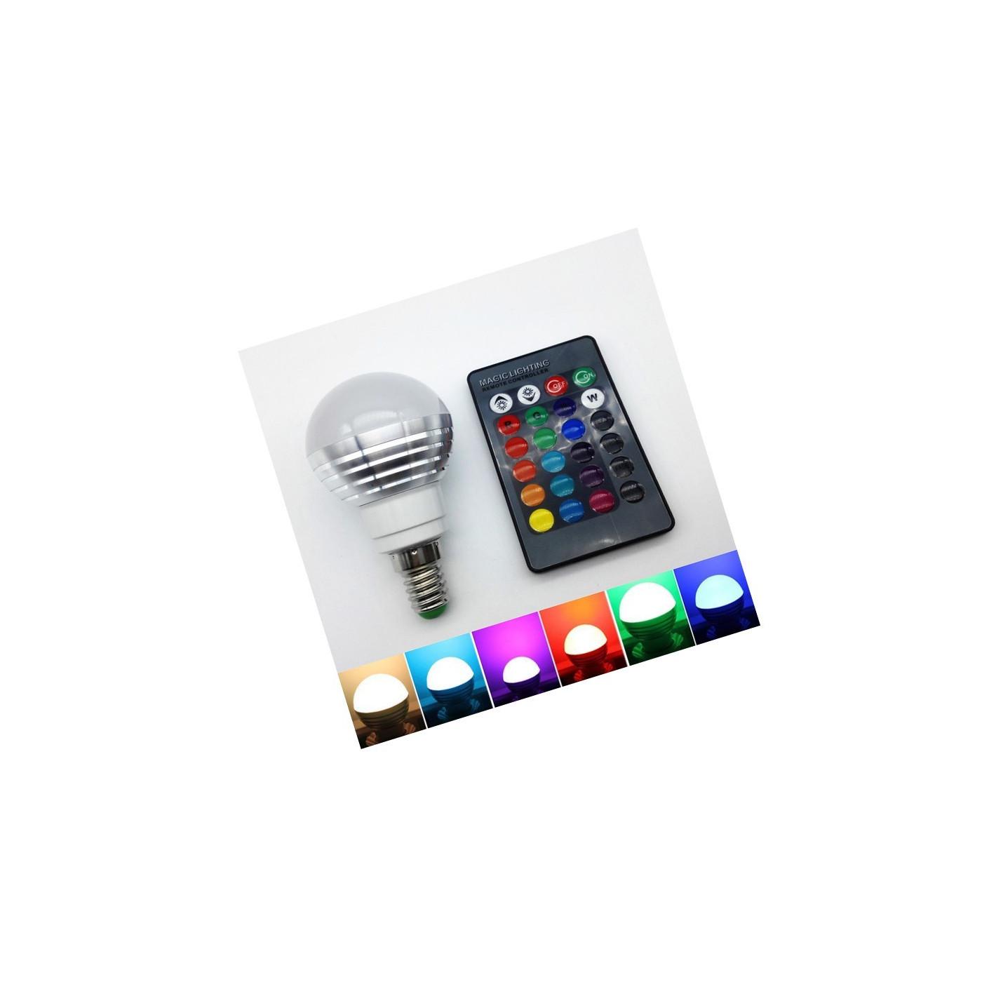 E14 RGB led light with remote, 3W  - 1
