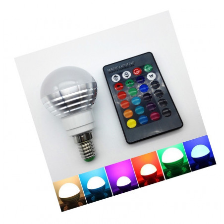 E14 RGB LED Lampe mit Fernbedienung, 3W  - 1