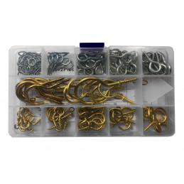 Assortiment van 112 kleine schroefhaakjes in een doosje