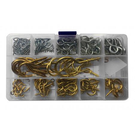 Assortment of 112 small screw hooks in box