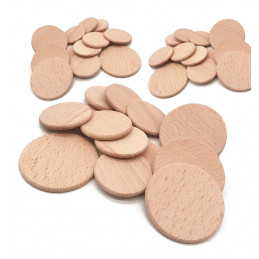 Set of 100 wooden discs (dia: 5 cm, thickness: 3.2 mm, beech)