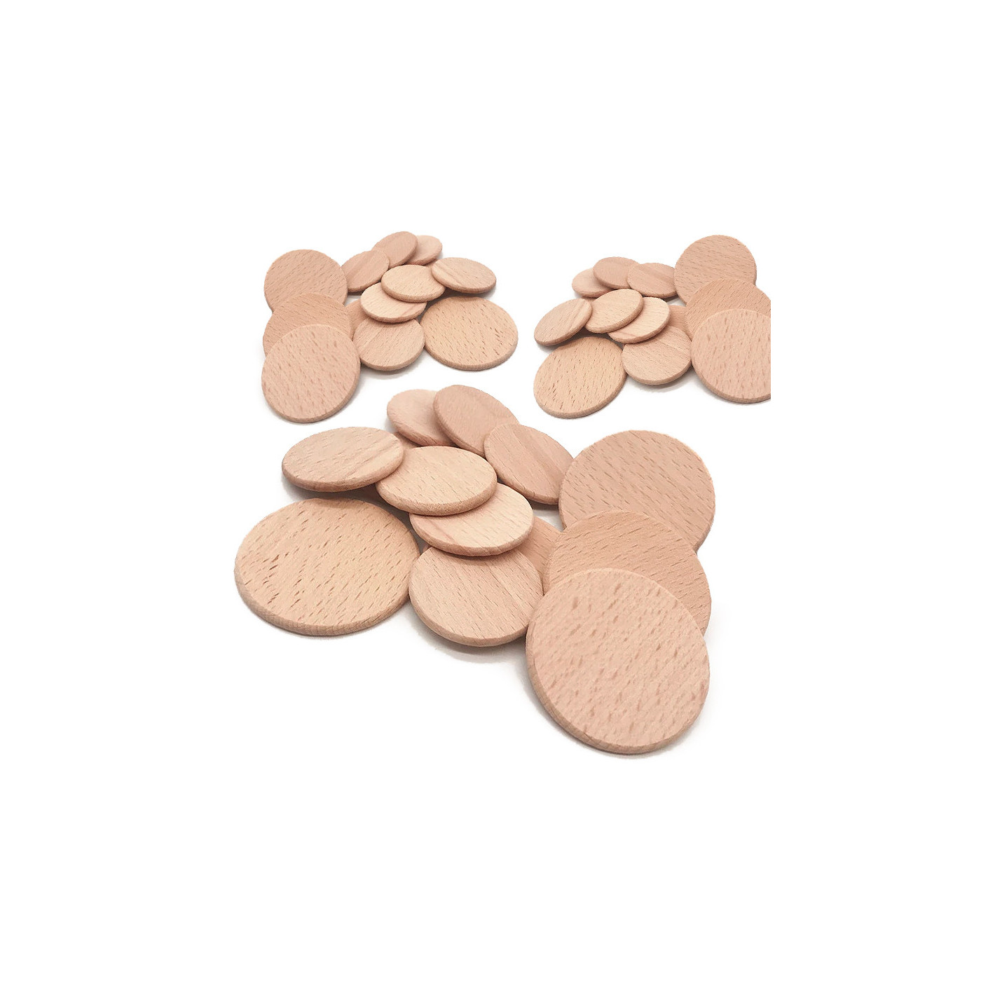 Set van 100 houten schijven (dia: 5 cm, dikte: 3,2 mm, beuken)