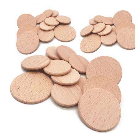 Set of 100 wooden discs (dia: 5 cm, thickness: 3.2 mm, beech)