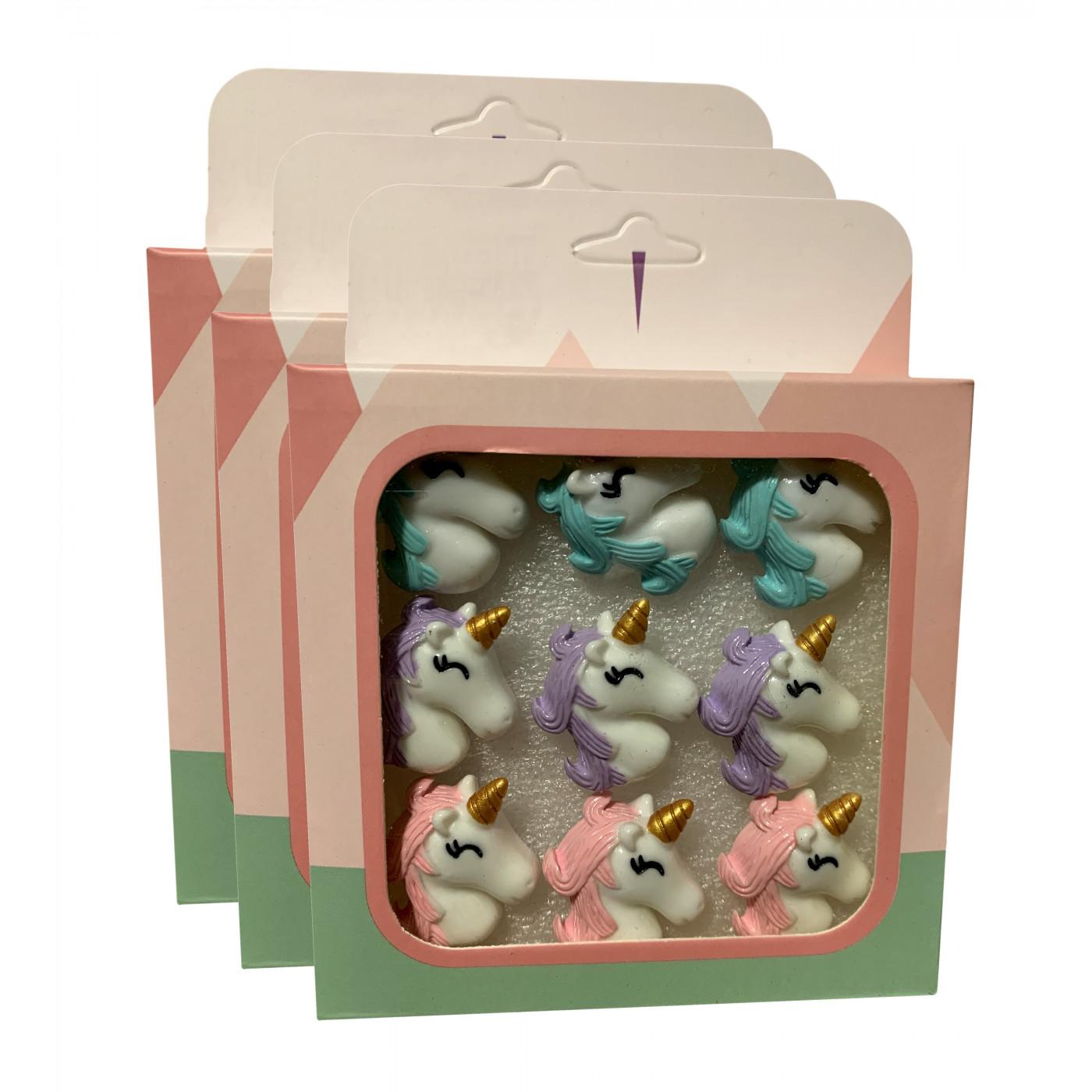 Lot de 27 punaises mignonnes dans des boîtes (modèle: unicorn1)