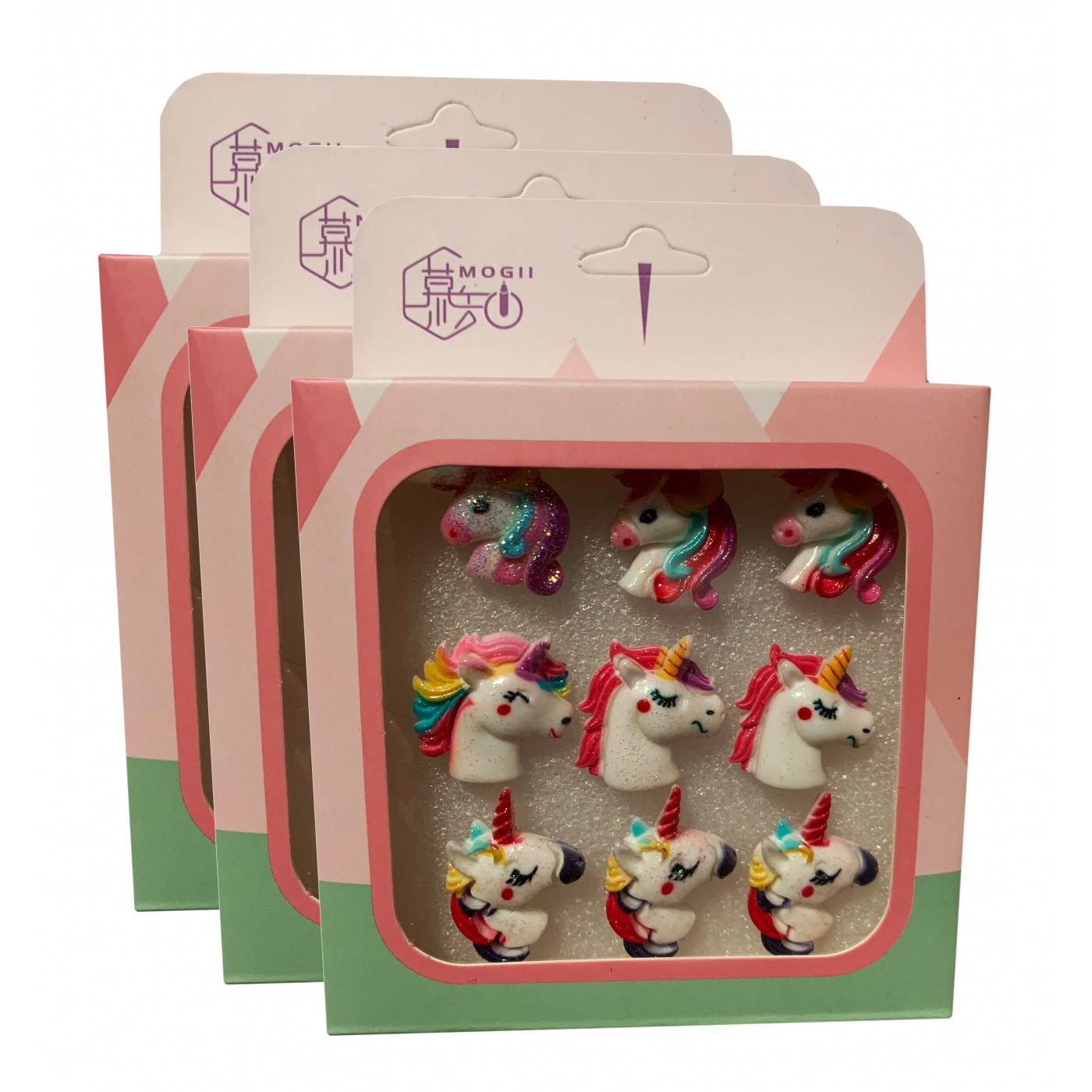 Set von 27 süßen Reißnägeln in Kartons (Modell: einhorn2)  - 1