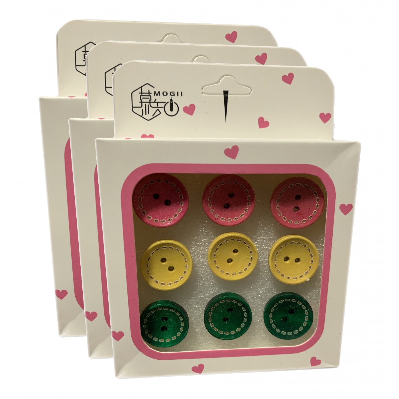 Set von 27 süßen Reißnägeln in Schachteln (Modell: Knöpfe rosa, gelb, grün)  - 1