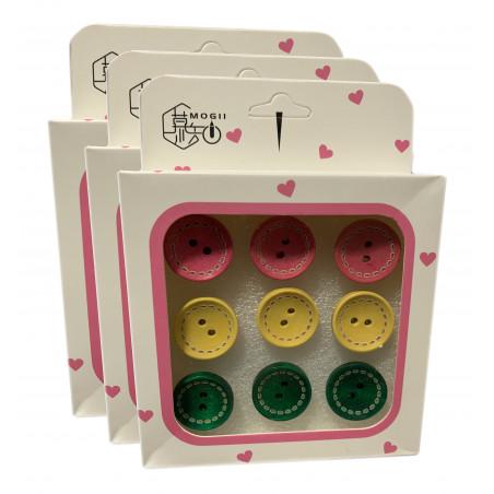 Set von 27 süßen Reißnägeln in Schachteln (Modell: Knöpfe rosa