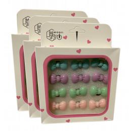 Zestaw 36 ślicznych pinezek w pudełkach (model: kolorowe kokardy)  - 1