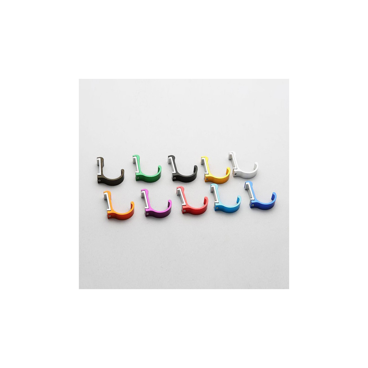 Set von 10 Aluminium-Kleiderhaken / Garderoben (gebogen, silber)  - 1