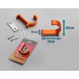 Set van 10 aluminium kledinghaken, kapstokken (gebogen, oranje)