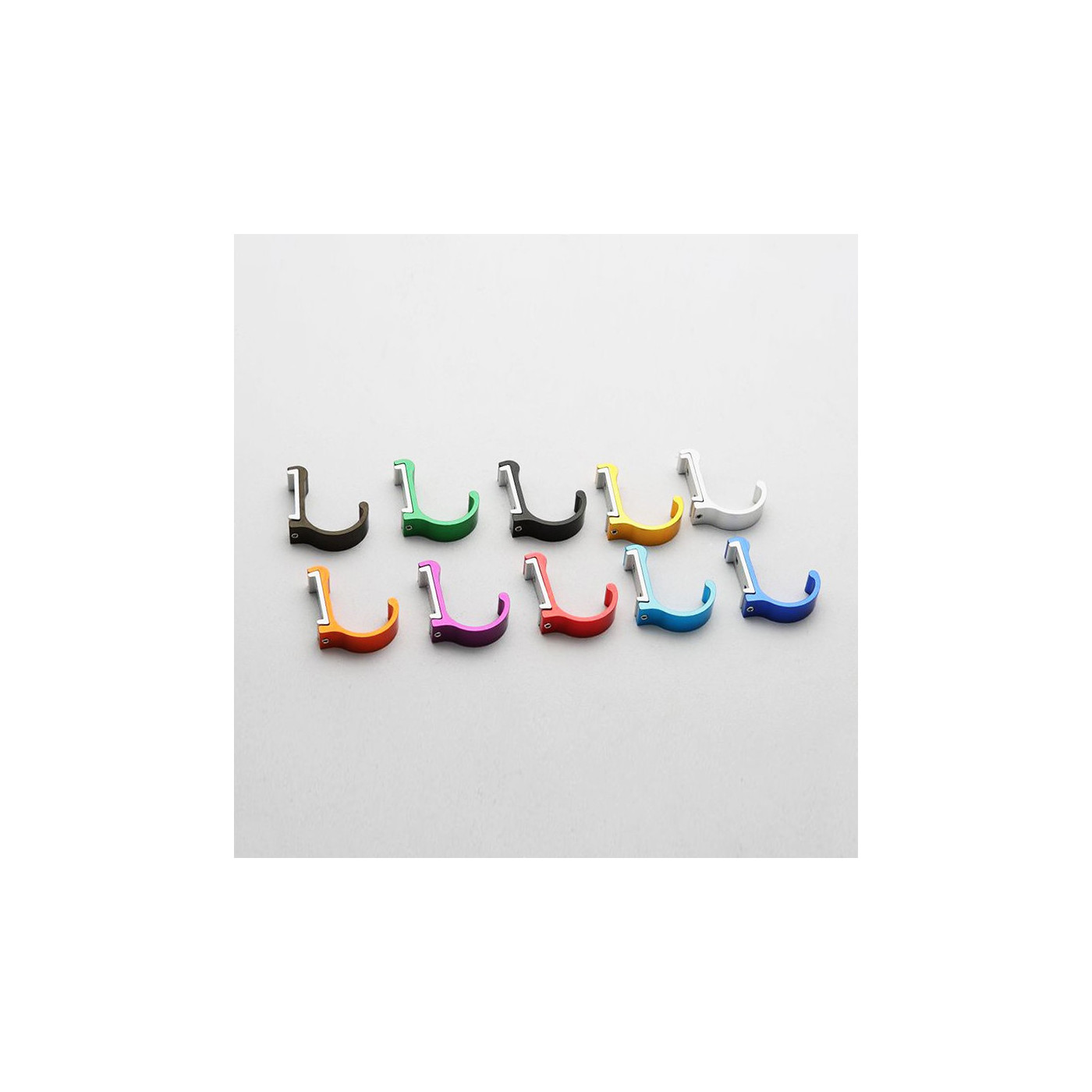 Set of 10 aluminum clothes hooks, colorful mix (curved, all 10