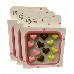 Set van 36 leuke punaises in doosjes (model: hartjes, roze, bruin en geel)  - 1