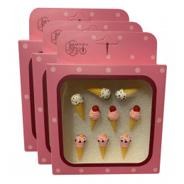 Set of 27 cute thumbtacks in boxes (model: ice creams)