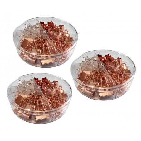 Set van 216 paperclips, klemmen en punaises (roségoud)