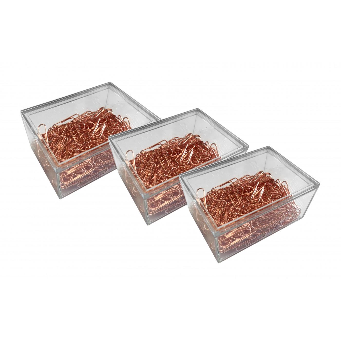 Set van 480 metalen paperclips (roségoud, in 3 kunststof