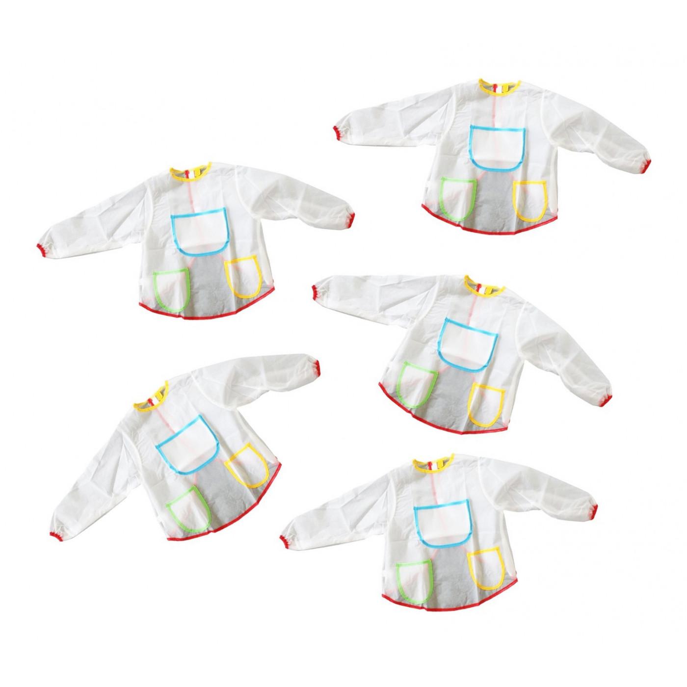 Set van 5 junior verfschorten (kliederschorten, voor 3-6 jaar)
