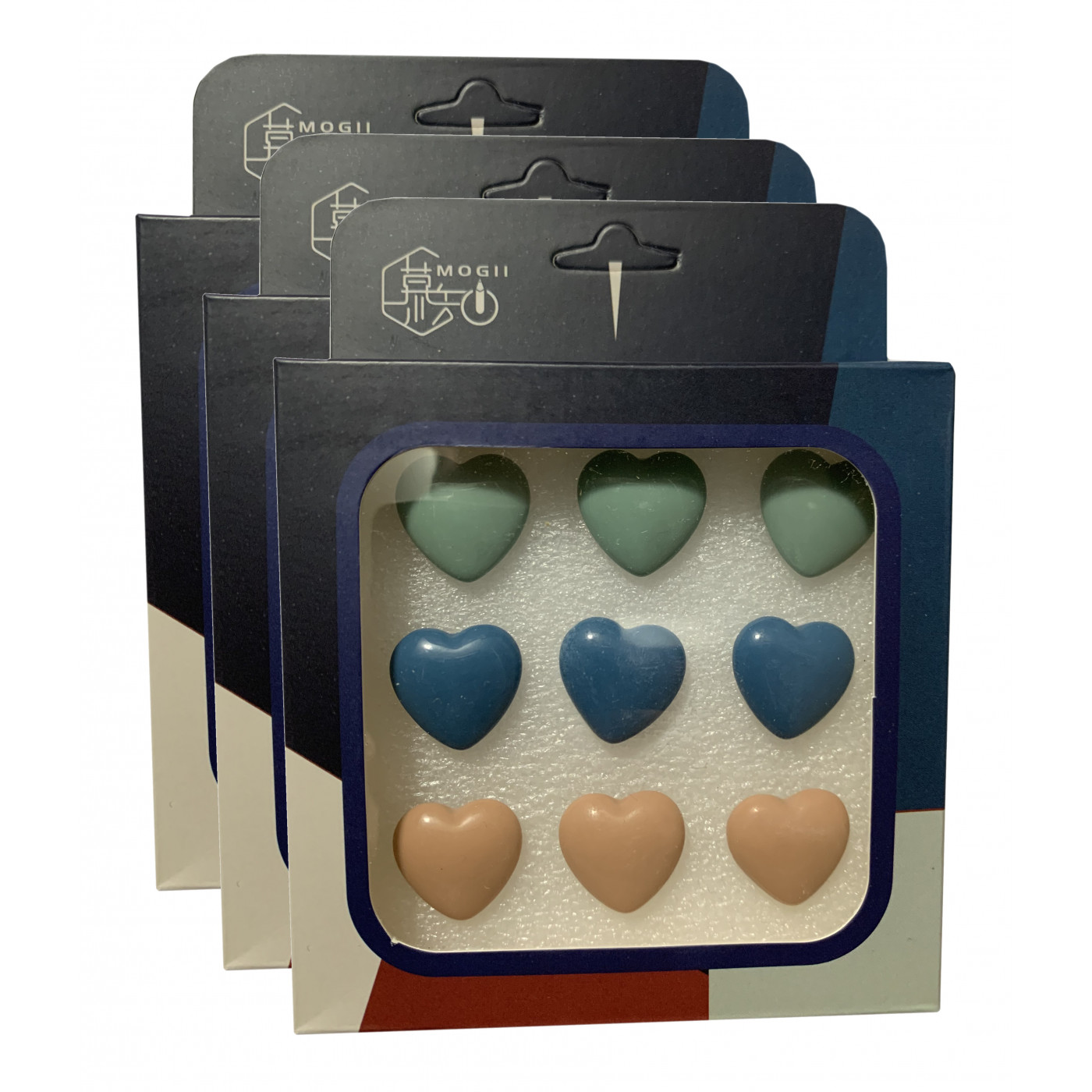 Set of 27 cute thumbtacks in boxes (model: hearts, green, blue and cream colored)  - 1