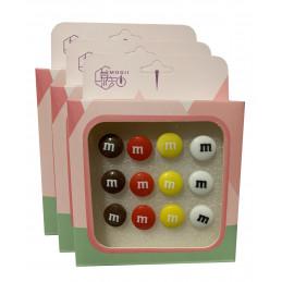 Set van 36 leuke punaises in doosjes (model: snoepgoed)