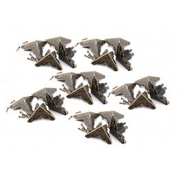 Ensemble de 24 petits coins de boîte, 24 mm (bronze, avec clous)