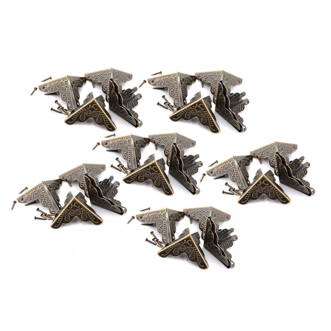 Set von 24 kleinen Kastenecken, 24 mm (Bronze, mit Nägeln)