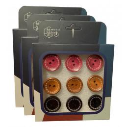 Zestaw 27 uroczych pinezek w pudełkach (model: guziki, różowy, brązowy i czarny)  - 1